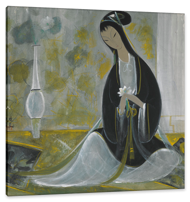 Lady with Flower Vase, c.1930, Ink and Color on Parchment