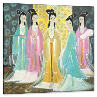 Gathering of the Concubine, c.1948, Ink and Color on Parchment