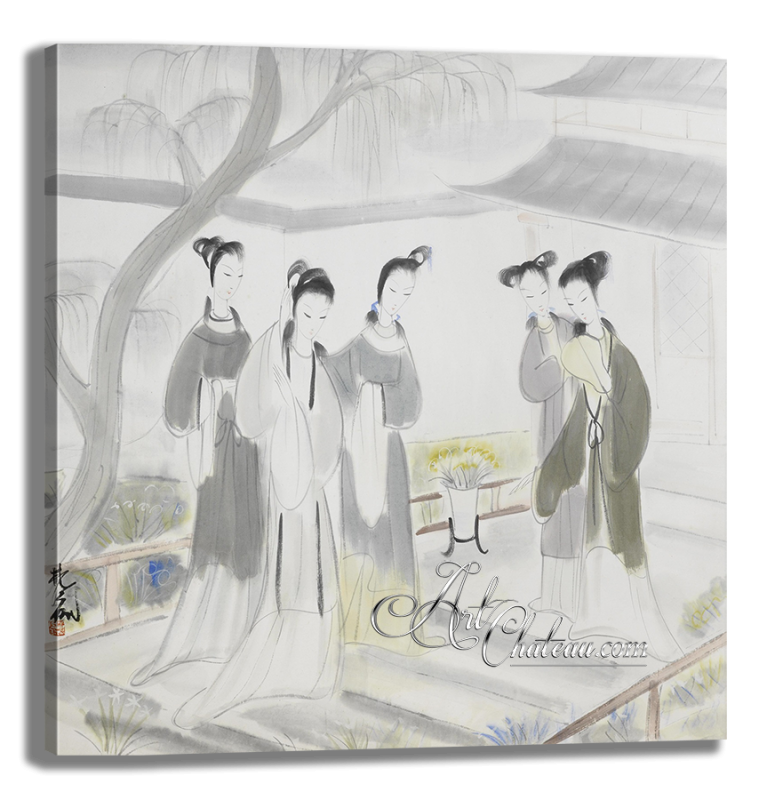 Gathering of Concubine, after painting by Lin Fengmian