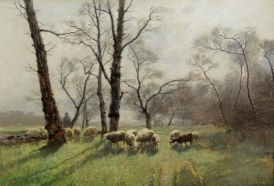 Shepherd with his Flock, c.1898, Oil on Canvas