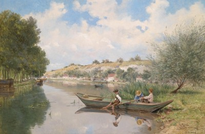Boys on the River Allier near Nevers, France, c.1897, Oil on Canvas