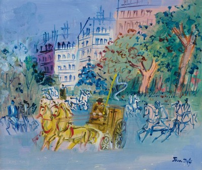 Boulevards avec Caleches, c.1928, Oil on Canvas