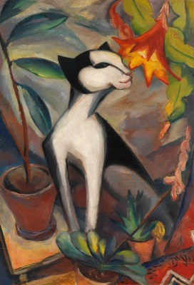 Cat with Cactus Flower, c.1921, Oil on Canvas