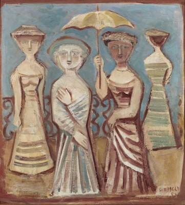 Four Figures with Umbrella, c.1953, Oil on Canvas