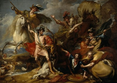 Alexander III of Scotland Rescued from the Fury of a Stag by the Intrepid Colin Fitzgerald, c.1786, Oil on Canvas