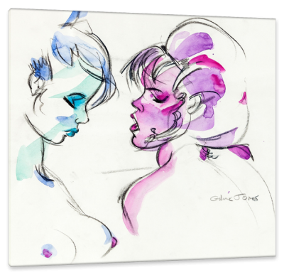 Two Women, c.1994, Ink and Watercolor