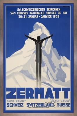 Vintage Style, Zermatt Travel Poster, after Pierre Kramer