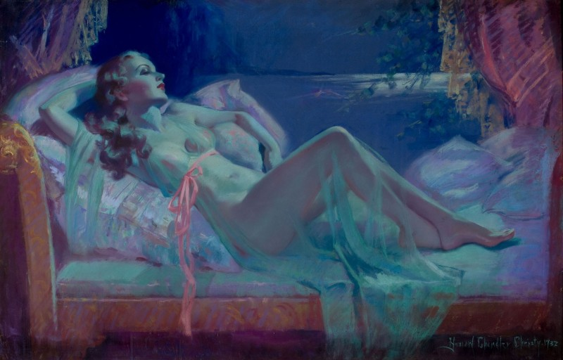 Classic reclining nude painting
