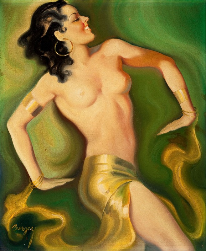 Exotic Pin Up with Bracelets, c.1936, Oil on Canvas