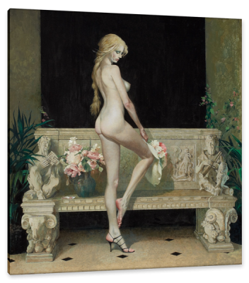 Nude by a Bench, Paperback Cover, c.1968, Gouache on Board