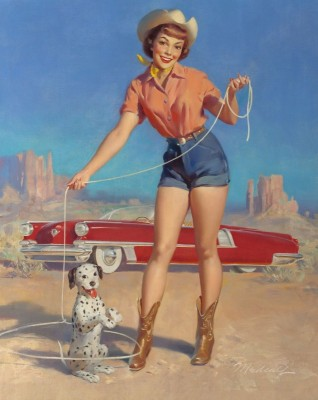 Cowgirl with Her Star Puppy, c.1949, Oil on Canvas