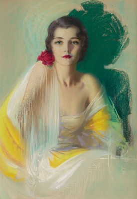Beauty with a Rose, c.1926, Pastel on Parchment