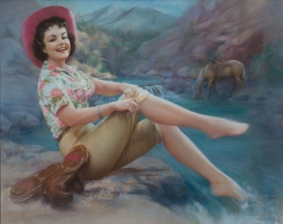 Cowgirl with Toes in the Stream, c.1960, Pastel on Board