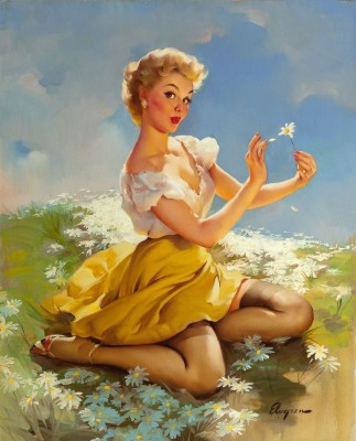 Daisies Are Telling (Love Me, Love Me Not) Calendar Illustration, c.1955, Oil on Canvas