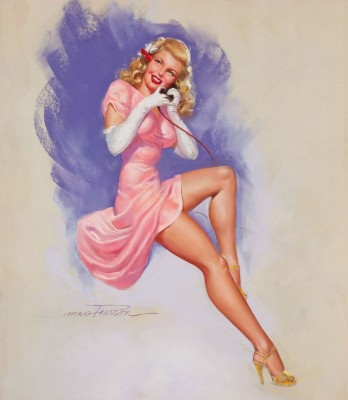 Blonde Pin-Up on the Phone, c.1947, Pastel on Board
