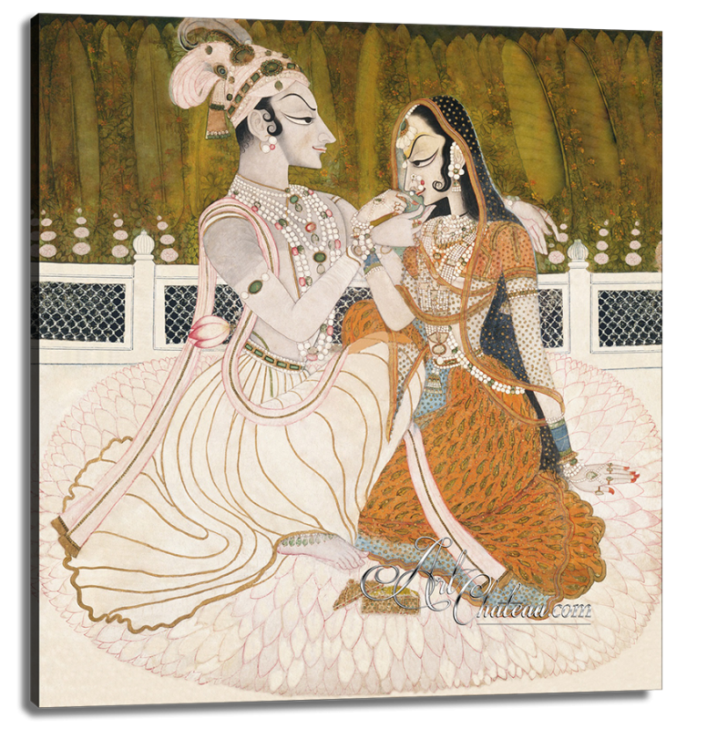 Krishna with His Beloved Radha, after Nihal Chand
