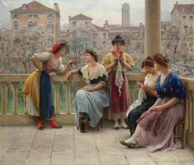 Conversations on a Venetian Terrace, c.1909, Oil on Canvas
