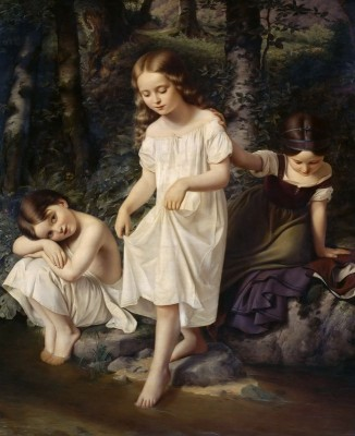 Sisters by a Stream, c.1875, Oil on Canvas