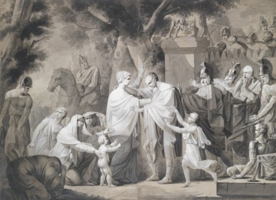 Venturia pleas Coriolan to withdraw his troops from the City of Rome, c.1798, Black Ink Drawing with Watercolor