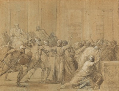 Ancient Scene from Roman History, c.1803, Drawing on Parchment with Brown Wash