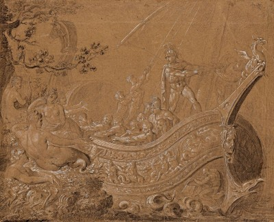 Ulysses and the Sirens, c.1825, Black Pen and Chalk
