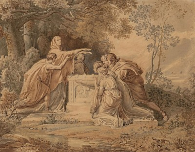 Electra at the Tomb of Agamemnon, c.1796, Brown Ink and Color Wash