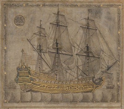 Mythical Calligraphic Galleon, c.1766, Black Ink and Gold Leaf on Paper