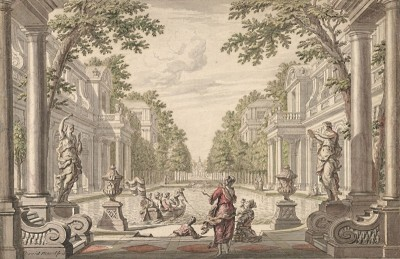 Tapestry Design of a Palace Garden, c.1720, Pen and Black Ink and Watercolor