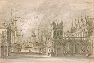 Seaport, Design for a Stage Set, c.1840, Brown Ink, Gray Wash on Paper