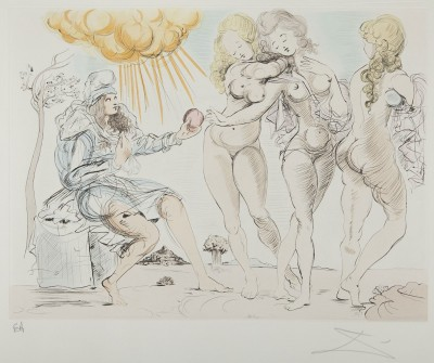Les Trois Graces, c.1954, Pen and Watercolor on Parchment