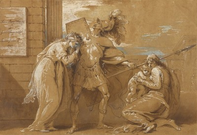 Hector Bidding Farewell to Andromache, c.1797, Pen, Brown Ink, and Blue, White Gouache