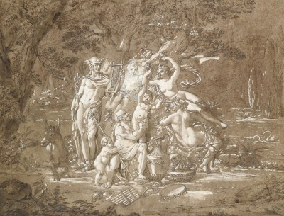 Mercury and Pan with Nymphs, c.1825, Black Pen and Chalk