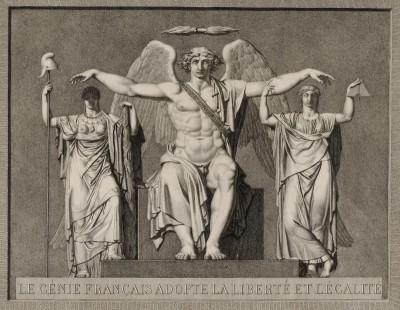 The French Genius Spirit Adopts Liberty and Equality, c.1791, Pen and Grey Color Wash