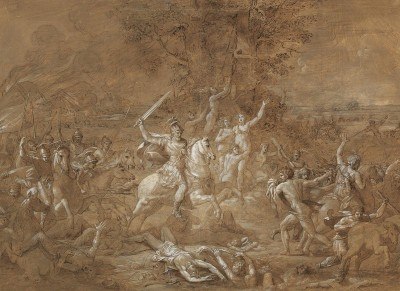 An Ancient Battle Scene, c.1770, Pen and Brown Ink, Gouache and White Bodycolor on Parchment