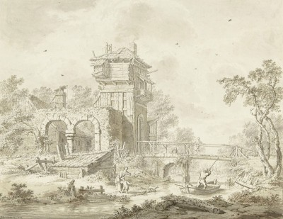Remnants of an Ancient Gatehouse with Bridge, c.1784, Pencil with Color Wash
