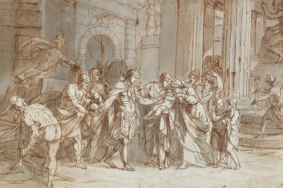 The Farewell Between Hector and Andromache, c.1785, Pen and Brown Ink, Grey Wash on Parchment