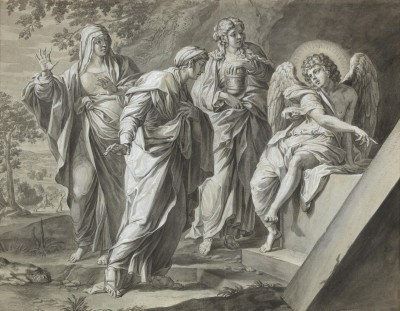 Three Holy Women at the Tomb of Jesus, c.1798, Pen with Black Ink, Grey and Brown Wash on Parchment