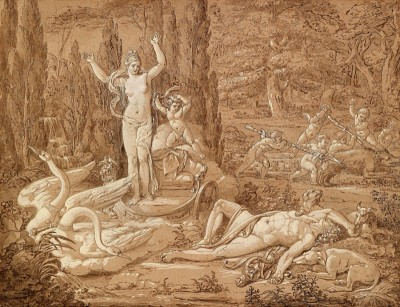 Venus and Adonis, c.1825, Black Pen and Chalk