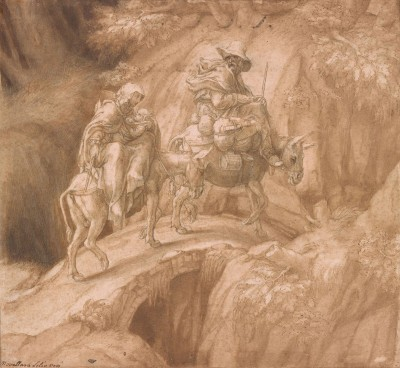 Flight into Egypt, c.1570, Pen and Brown Ink, Brown Wash