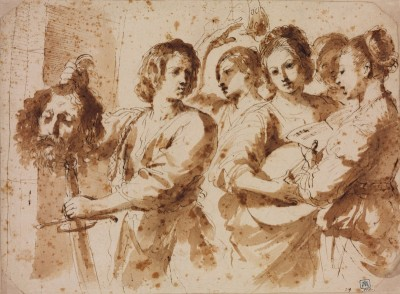 The Triumph of David, c.1636, Pen and Brown Ink with Color Wash