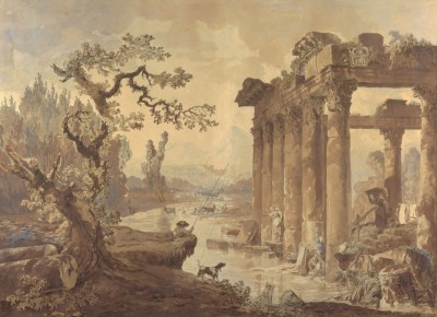 Landscape with Ruins, c.1772, Pen and Brown Ink on Parchment