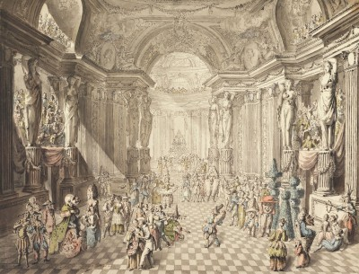 Masquerade, c.1780, Pen and Black Ink, Gray Wash, Watercolor on Parchment