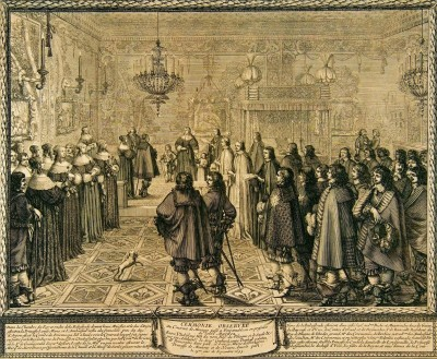 Ceremony Marriage Wladyslaw IV and Marie Louise Gonzaga at Fontainebleau, c.1645, Engraving