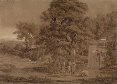 Abraham with Three Angels in the Valley of Mambre, c.1797, Pen and Brush Wash
