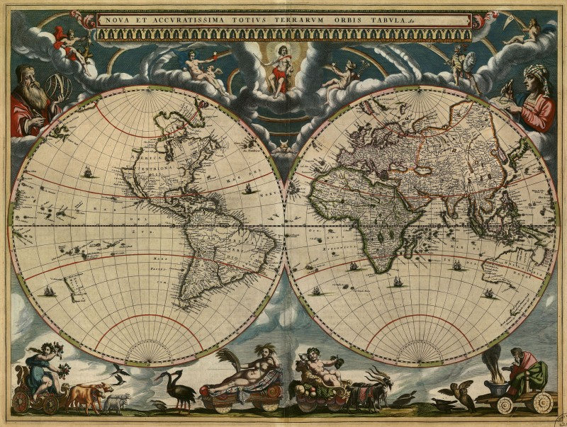 Johannes blaeu new and most accurate world map c1662 printed on new and most accurate world map c1662 printed on parchment rolled canvas gumiabroncs Image collections