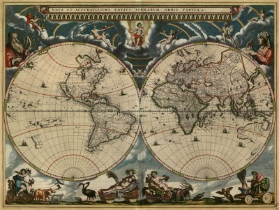 New and Most Accurate World Map, c.1662, Printed on Parchment