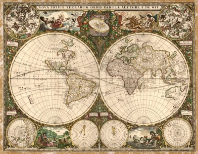A New Map of the Whole World, c.1660, Printed on Parchment