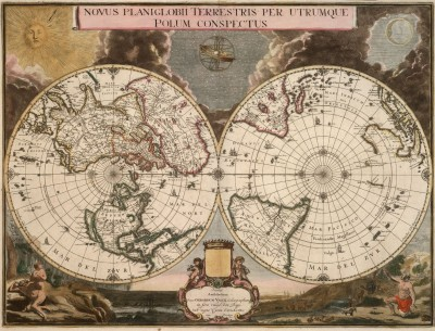 Novus Projection of Earthly Polar Extremities, c.1695, Engraving on Parchment