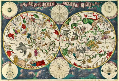 17th Century Celestial Map, c.1629, Engraving on Parchment
