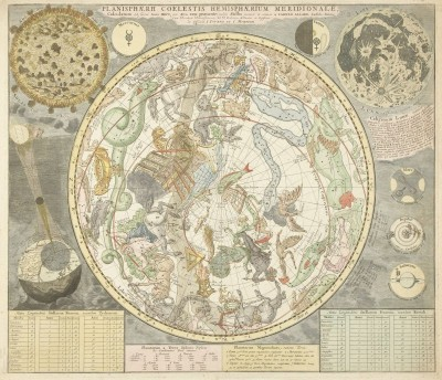 Star Chart of the Southern Sky, c.1713, Engraving on Parchment